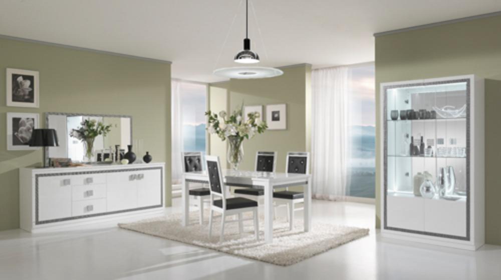 Vitrine 2 portes thema blanc salle manger for Meuble moderne pour salle a manger