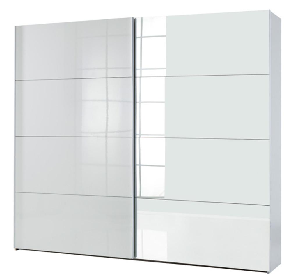 Armoire 2 portes coulissantes attimi blanc miroir for Meuble penderie porte coulissante