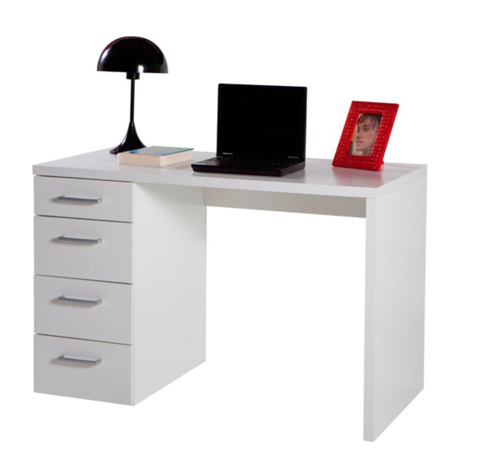 Bureau 4 tiroirs isabella blanc for Scrivanie per computer mondo convenienza