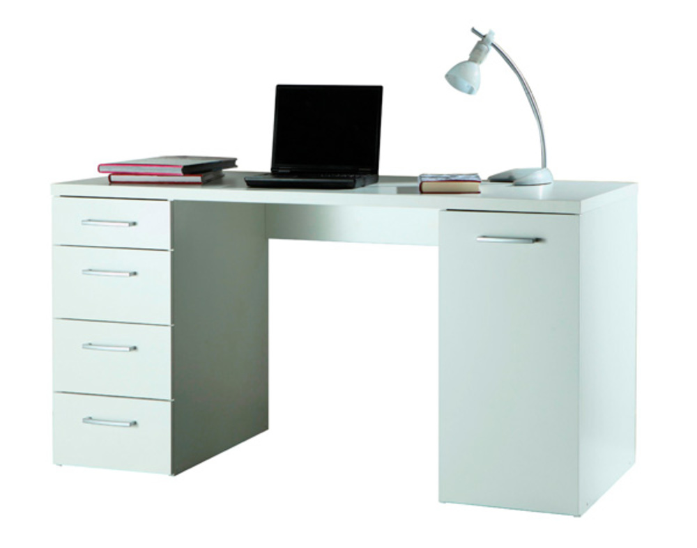 Bureau 1 porte et 4 tiroirs consuelo blanc - Bureau blanc avec tiroir ...