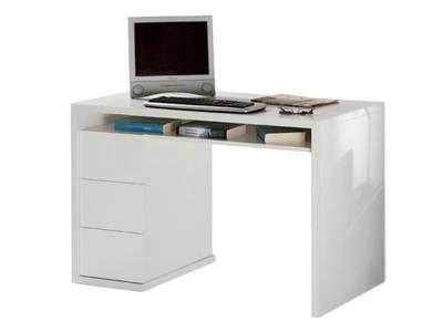 Bureau 3 tiroirs moneta blanc for Meuble bureau a tiroirs