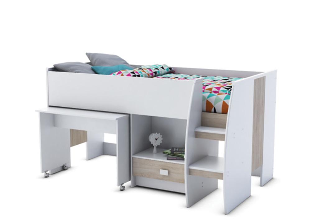 Lit combine bureau axel blanc chene - Lit superpose avec bureau integre conforama ...