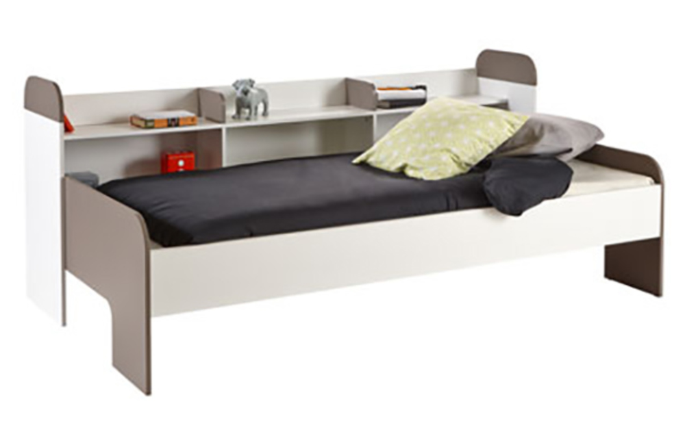 banquette lit sacha blanc perle gris basalte. Black Bedroom Furniture Sets. Home Design Ideas