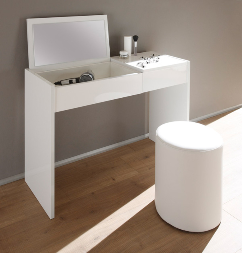 Coiffeuse ponte blanc laque for Meuble coiffeuse blanc