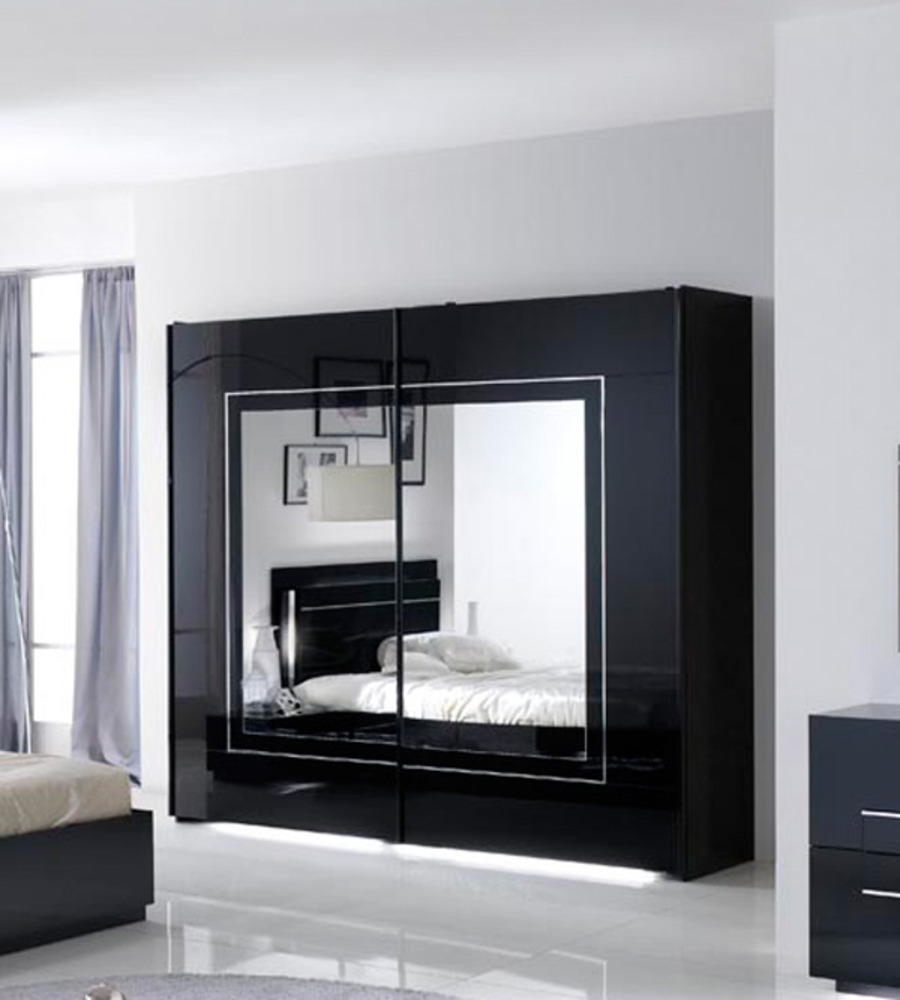 armoire 2 portes coulissantes city laque noir chambre. Black Bedroom Furniture Sets. Home Design Ideas