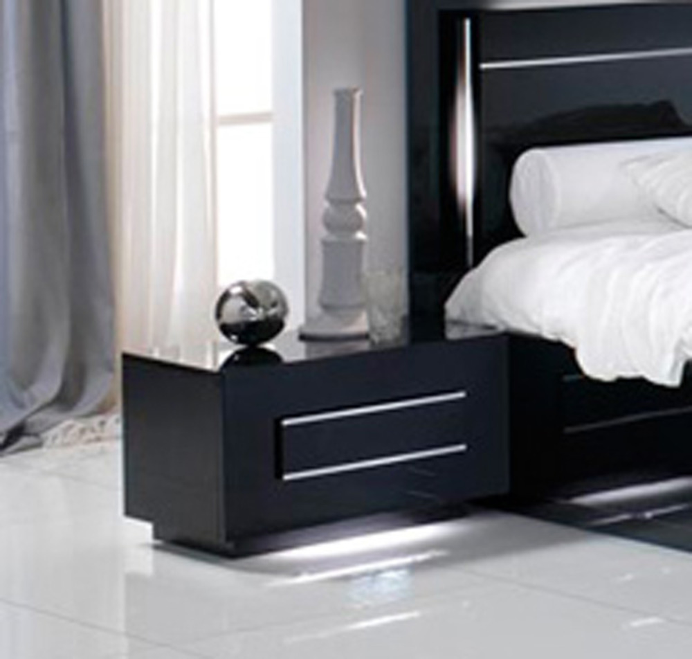 chevet 1 tiroir city laque noir chambre coucher. Black Bedroom Furniture Sets. Home Design Ideas