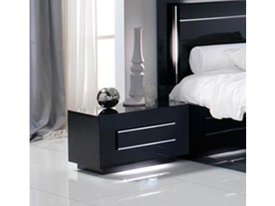 Chevet 1 tiroir City laque noir chambre À coucher