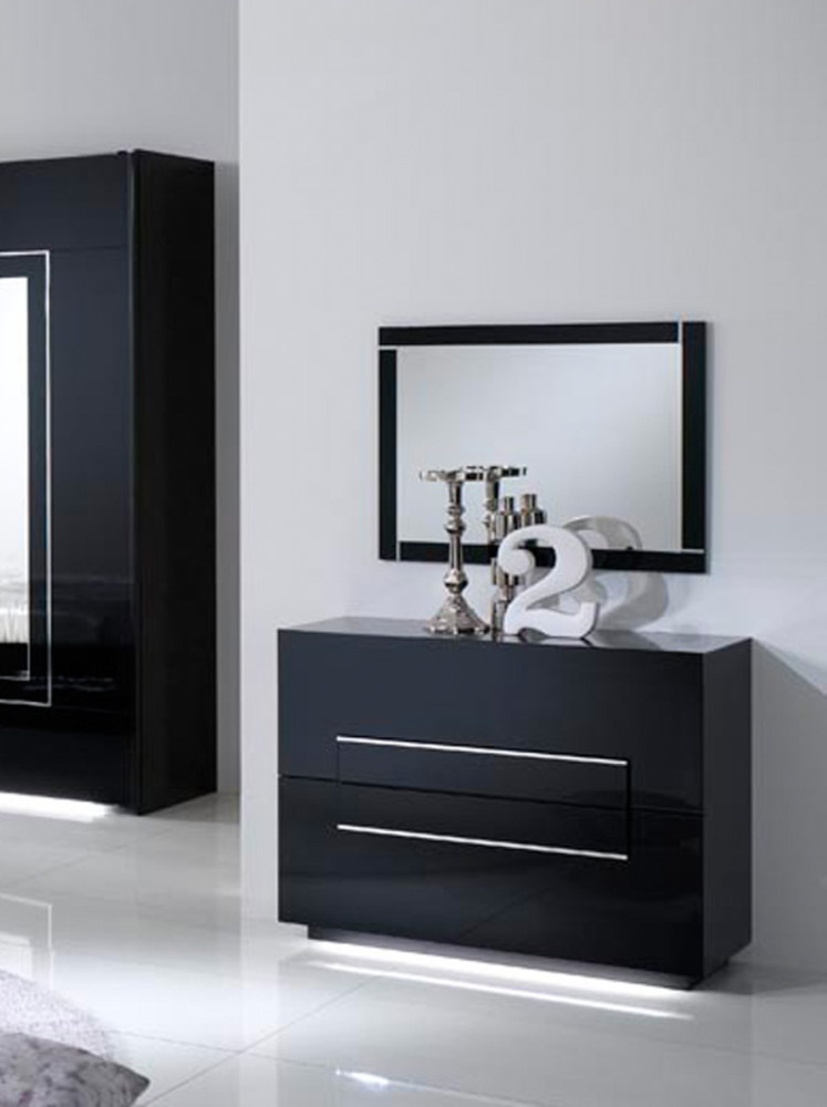 commode 2 tiroirs city laque noir chambre coucher. Black Bedroom Furniture Sets. Home Design Ideas