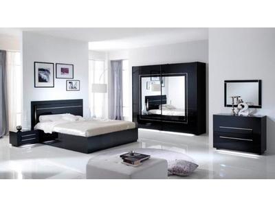 Commode 2 tiroirs City laque noir chambre À coucher