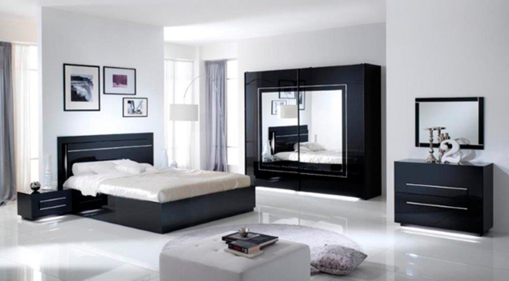 Lit city laque noir chambre coucher noir - Chambre a coucher adulte noir laque ...