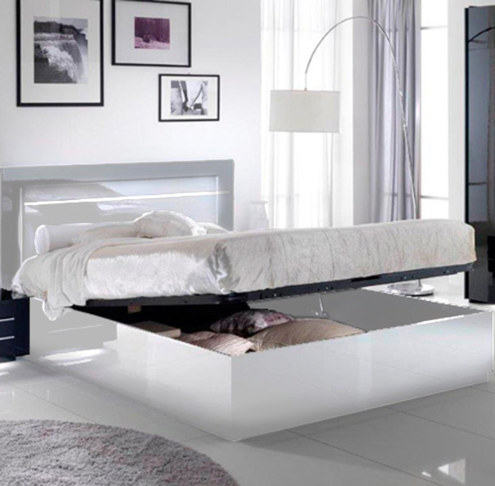 lit avec coffre de rangement city laque blanc chambre. Black Bedroom Furniture Sets. Home Design Ideas