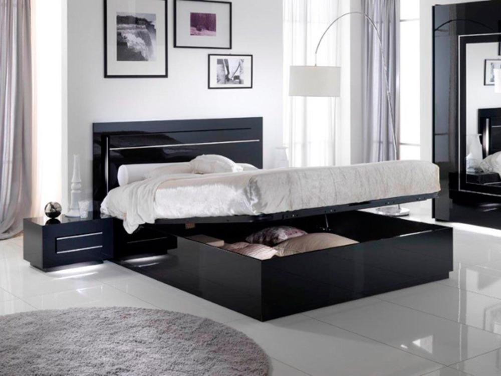 Lit avec coffre de rangement city laque noir chambre coucher noir - Chambre avec lit noir ...