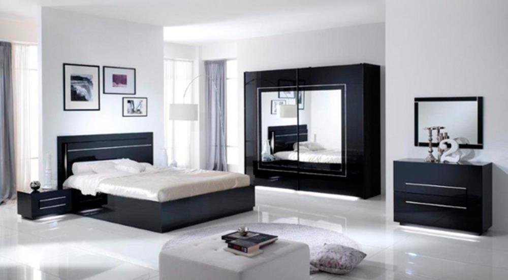 Lit avec coffre de rangement city laque noir chambre coucher - Chambre avec lit noir ...
