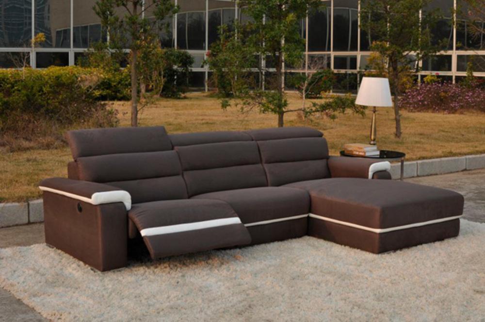 Canape d 39 angle droit relax electrique californie luba 340 15 marron pu - Salon relax electrique ...