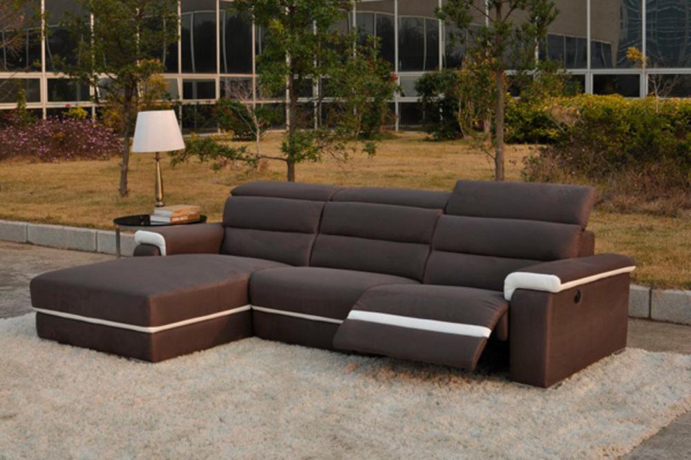 Canape d 39 angle gauche relax electrique californie luba 340 15 marron pu blanc for Canape relaxation electrique monsieur meuble