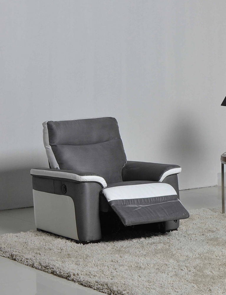 fauteuil relax electrique idaho luba gris fonce pu blanc 8815. Black Bedroom Furniture Sets. Home Design Ideas