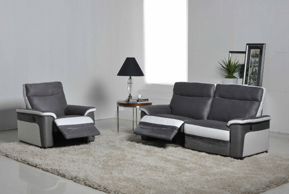 Fauteuil Relax Electrique Idaho Luba Gris Foncepu Blanc - Canapé fauteuil