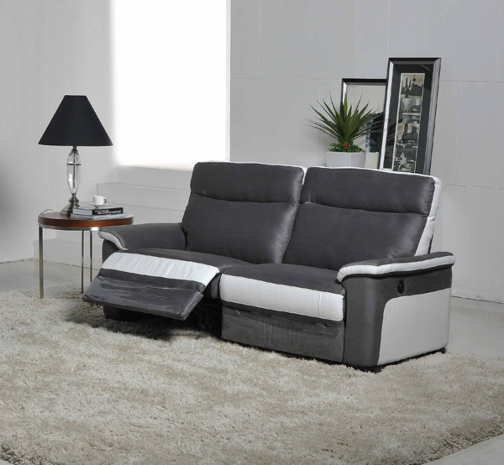 canape 3 places relax electrique idaho luba gris fonce pu blanc. Black Bedroom Furniture Sets. Home Design Ideas