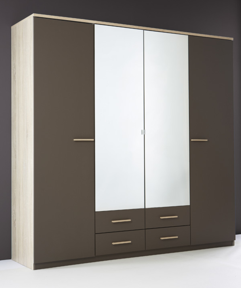 armoire 4 portes 4 tiroirs selena chene taupe. Black Bedroom Furniture Sets. Home Design Ideas