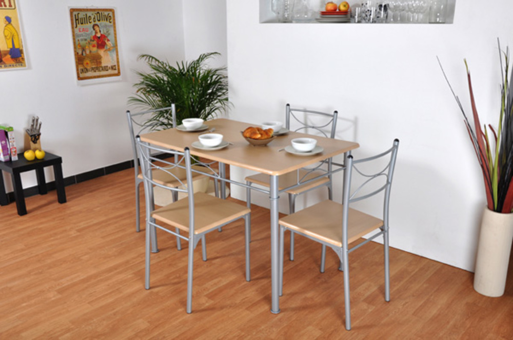 Table 4 chaises tuti hetre for Table de cuisine retractable