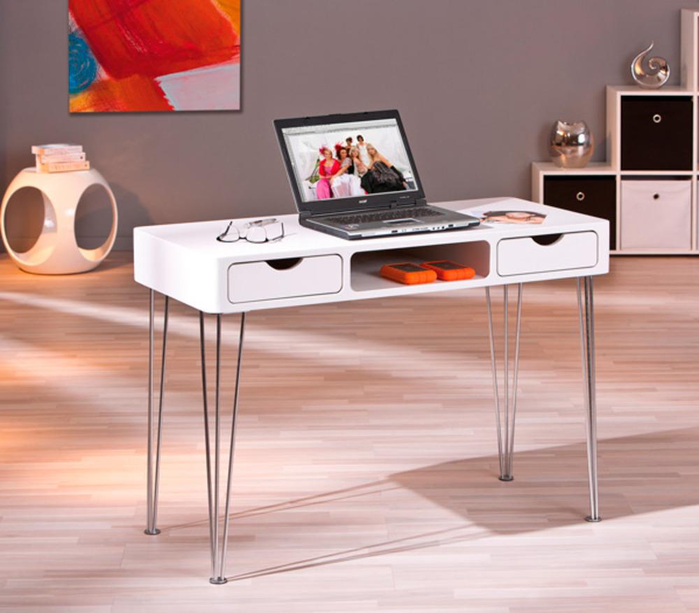 Bureau ludus blanc mat for Meuble bureau 76