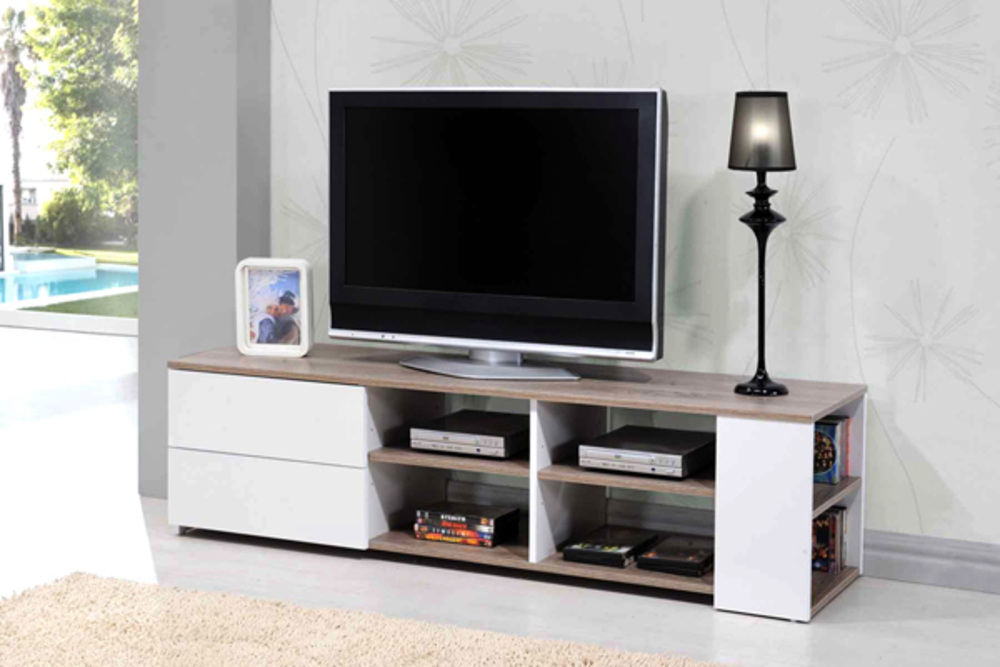 Meuble tv leader blanc brillant chene for Meuble chez but