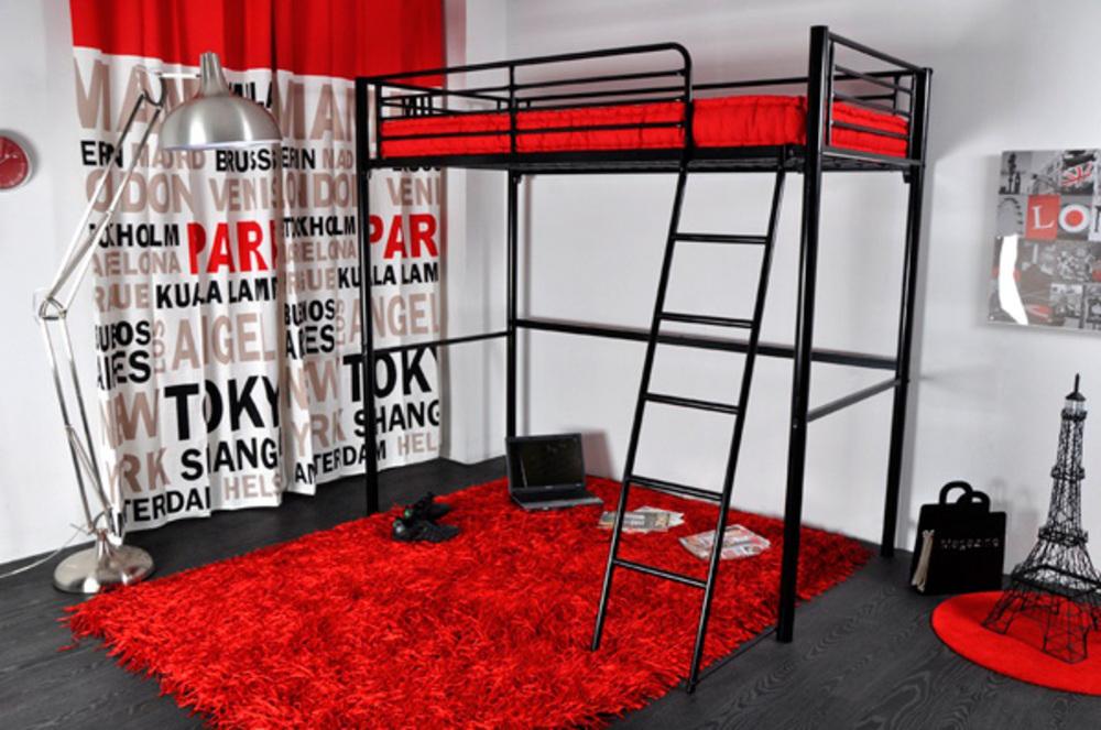 lit mezzanine rocket noir l 99 x h 184 x p 200 5. Black Bedroom Furniture Sets. Home Design Ideas