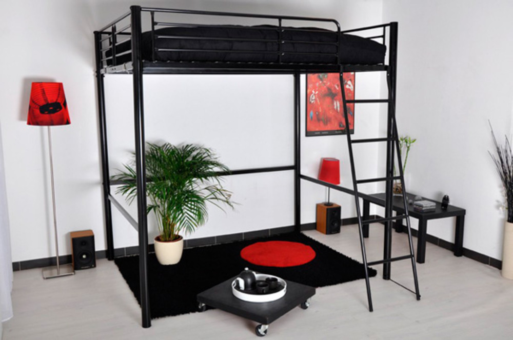 lit mezzanine rocket noir l 145 x h 184 x p 200 5. Black Bedroom Furniture Sets. Home Design Ideas