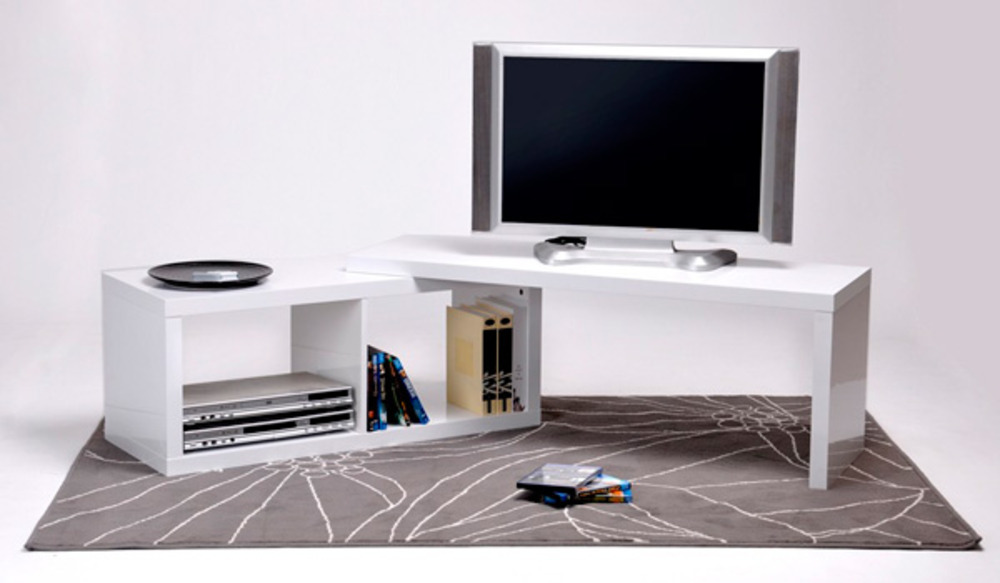 Meuble tv extensible sand blanc brillant for Meuble en coin tv