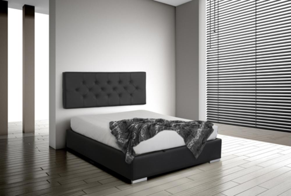 Tete de lit suspendre indo noir l 165 x h 60 x p 10 for Tete de lit en carrelage