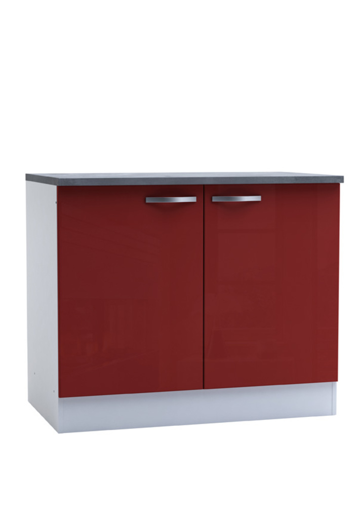 bas 2 portes cherry rouge brillant blanc. Black Bedroom Furniture Sets. Home Design Ideas