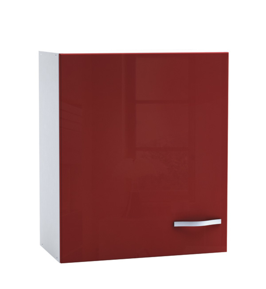 Haut 60 1 porte cherry rouge brillant blanc for Porte cuisine 30 x 60
