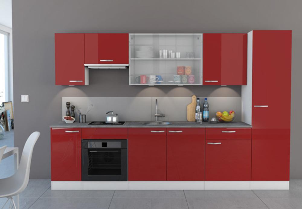 haut 60 1 porte cherry rouge brillant blanc. Black Bedroom Furniture Sets. Home Design Ideas