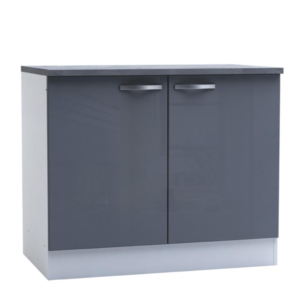 bas 2 portes spicy gris brillant blanc mat. Black Bedroom Furniture Sets. Home Design Ideas