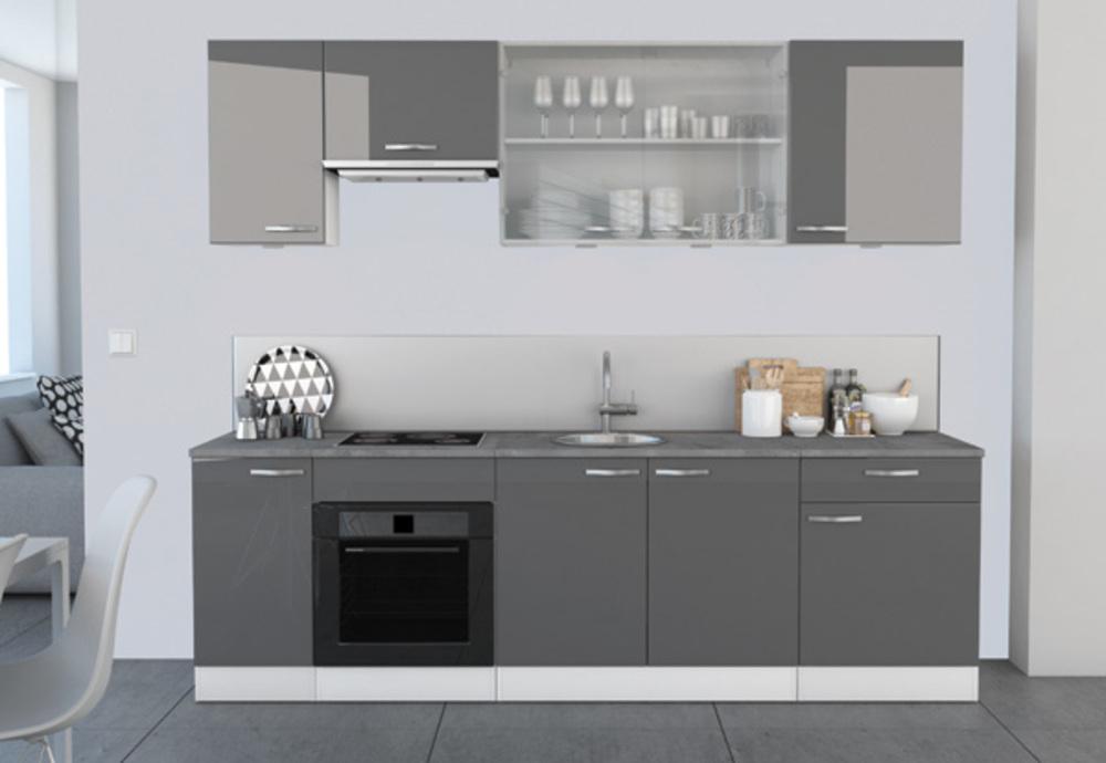 bas 60 1 porte 1 tiroir spicy gris brillant blanc mat. Black Bedroom Furniture Sets. Home Design Ideas