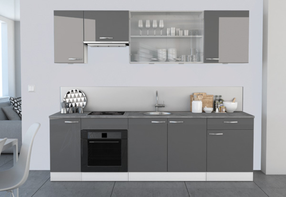 Haut 40 1 porte spicy gris brillant blanc mat for Pb choix peinture cuisine