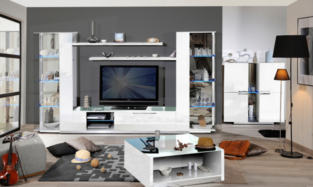 bahut 3 portes 1 tiroir vertigo blanc brillant. Black Bedroom Furniture Sets. Home Design Ideas