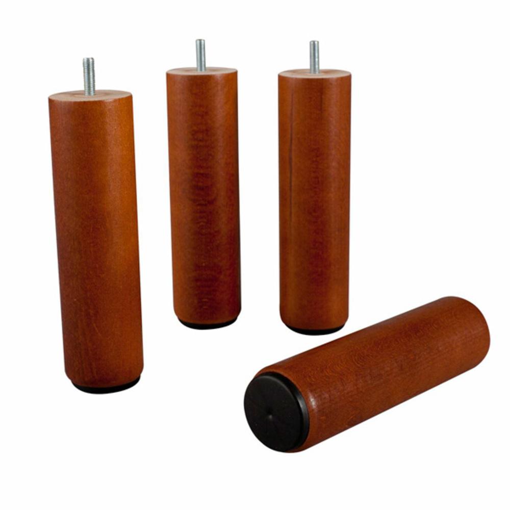 Cylindrique En Bois Pied Pour Sommier Merisier H 25