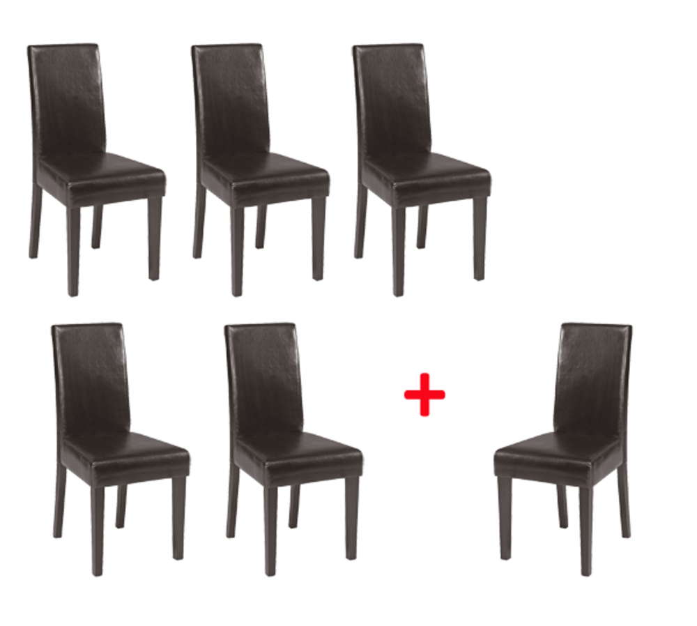 Lot de 5 chaises 1 offerte guevara marron for Chaise de salle a manger chez fly