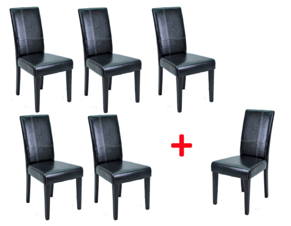 lot de 5 chaises 1 offerte guevara noir. Black Bedroom Furniture Sets. Home Design Ideas
