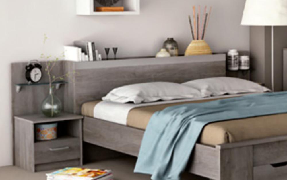 environnement lit 140 160 diva chene. Black Bedroom Furniture Sets. Home Design Ideas