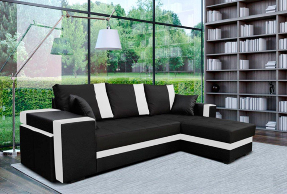 canape d 39 angle gauche convertible suez noir blanc. Black Bedroom Furniture Sets. Home Design Ideas
