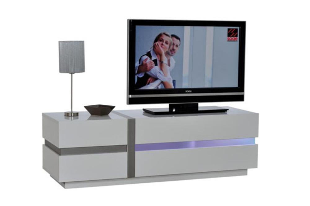 Meuble TV MEUBLE TV LAQUE BLANC INOX  MEUBLE TV LAQUE BLANC INOX Trouvez MEU -> Meuble Tv Laque Rouge Pied Inox