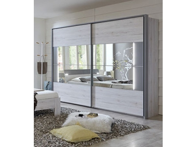 armoire 2 portes coulissantes milano chene blanc l 225 x h 210 x p 65. Black Bedroom Furniture Sets. Home Design Ideas