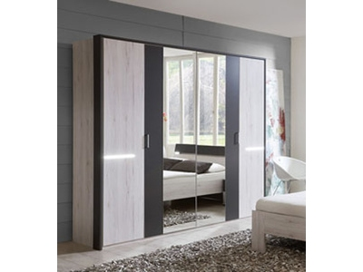 armoire 4 portes battantes milano chene blanc gris. Black Bedroom Furniture Sets. Home Design Ideas