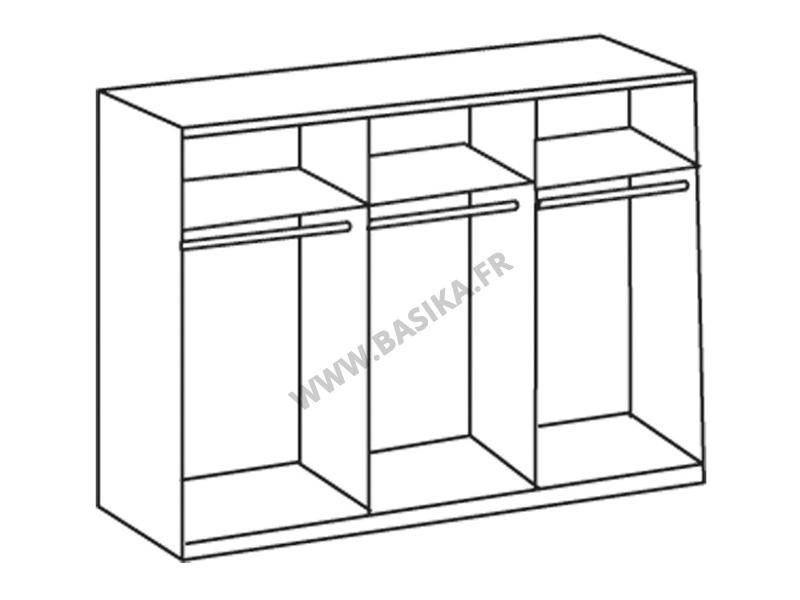 armoire 2 portes coulissantes milano chene blanc l 270 x h 210 x p 65. Black Bedroom Furniture Sets. Home Design Ideas
