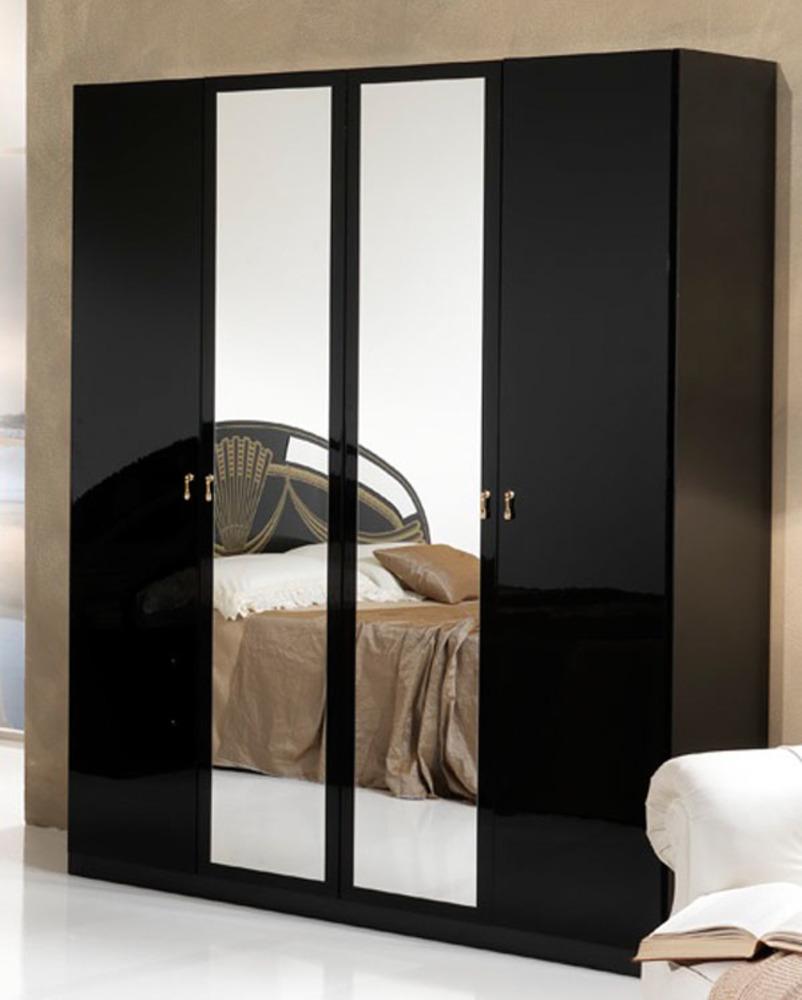 Armoire 4 portes athena chambre a coucher noir for Armoire chambre moderne