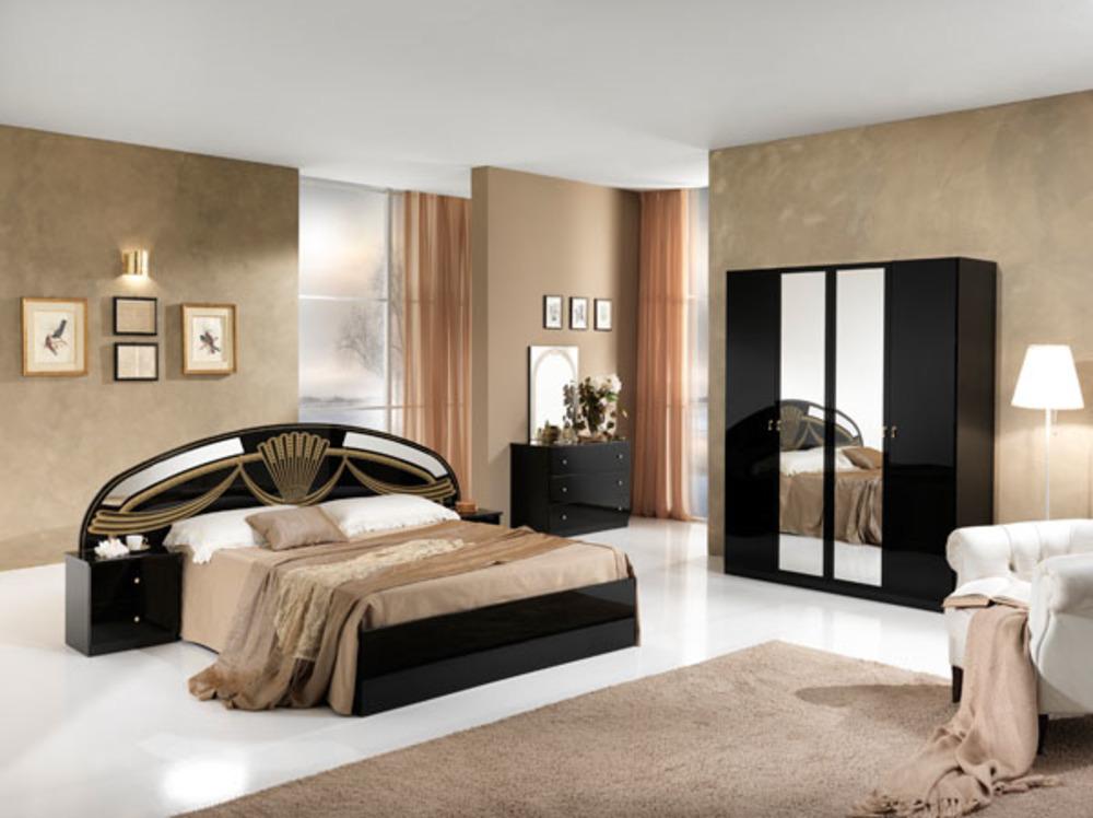 Armoire 4 portes athena chambre a coucher noir for Photo chambre a coucher