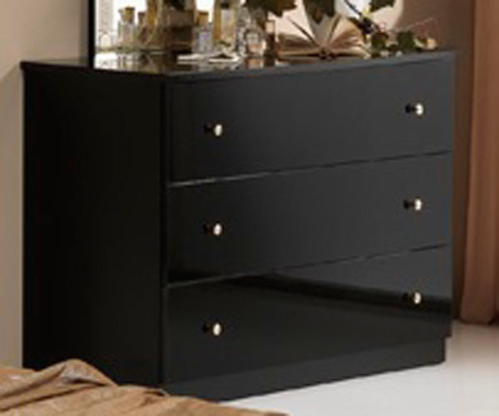 commode 3 tiroirs athena chambre a coucher noir. Black Bedroom Furniture Sets. Home Design Ideas