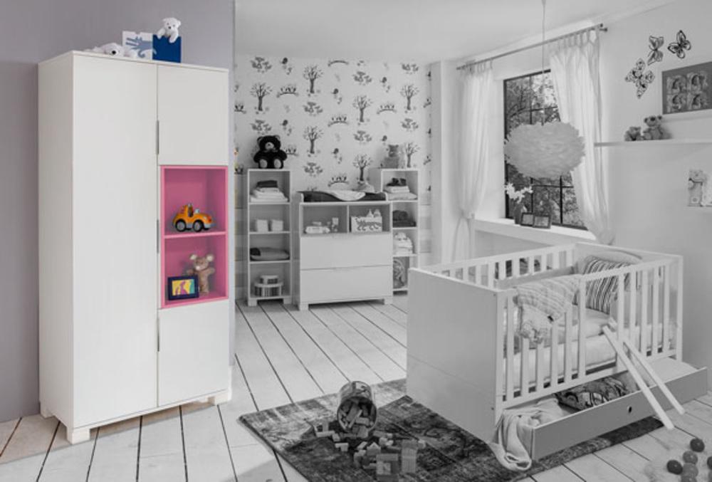 armoire 3 portes joris chambre bebe blanc rose. Black Bedroom Furniture Sets. Home Design Ideas